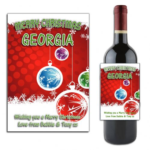Personalised Christmas  Wine or Champagne Bottle Label N169